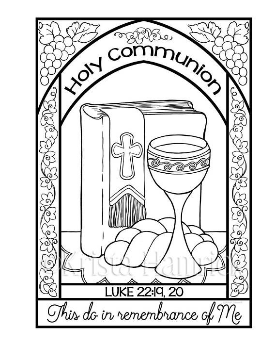 570x713 Holy Communion Coloring Page In Two Sizes Bible