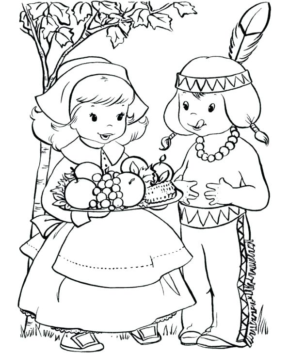 596x730 First Thanksgiving Feast Coloring Pages Pies