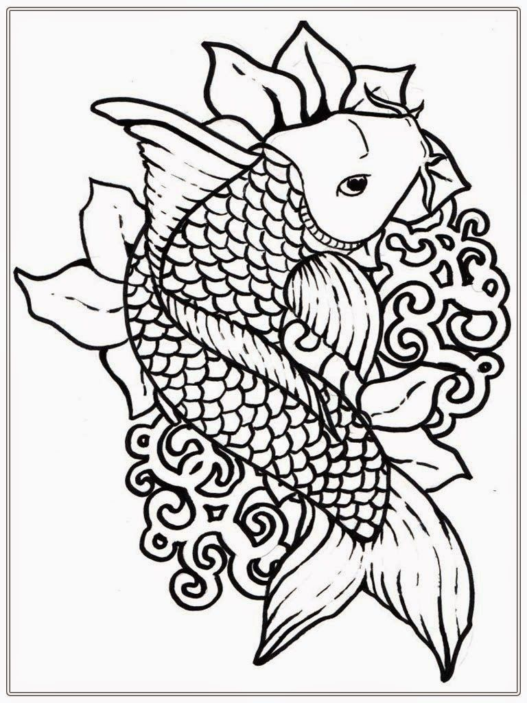 768x1024 Incredible Koi Fish Coloring Pages For Coloringstar Pics Of Adult
