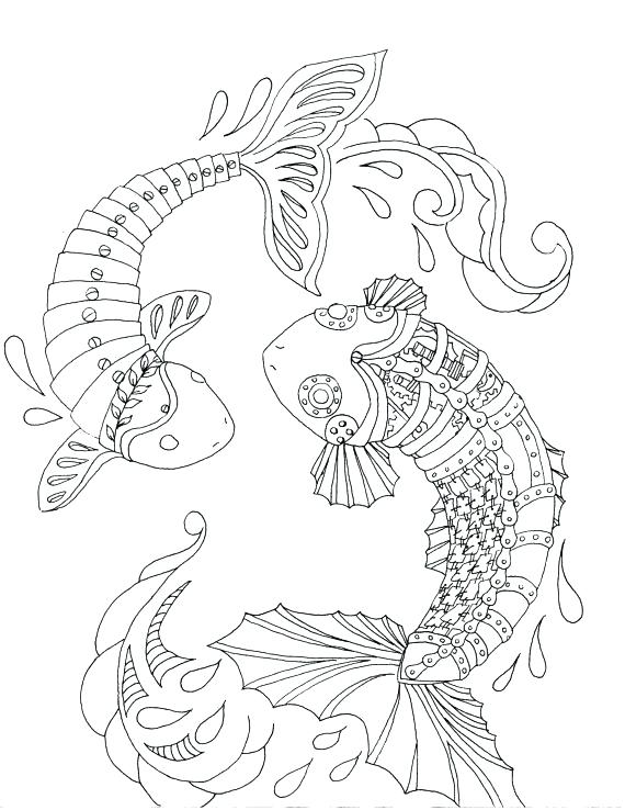 570x738 Koi Fish Coloring Pages Fish Coloring Pages Steampunk Fish A Adult