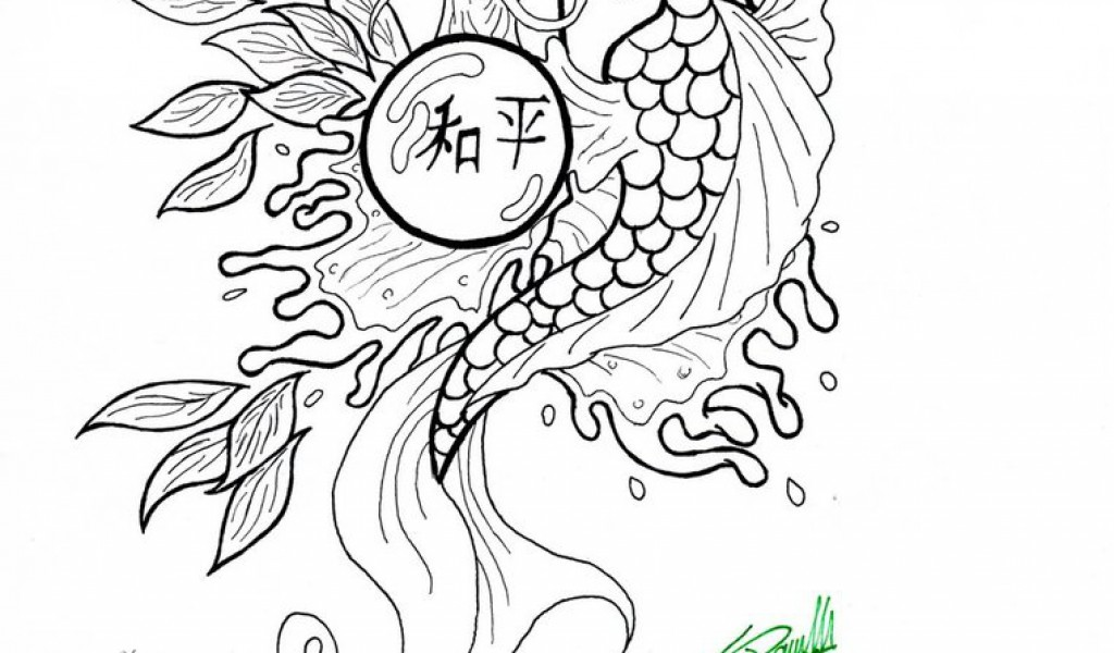 1024x600 Koi Fish Coloring Pages