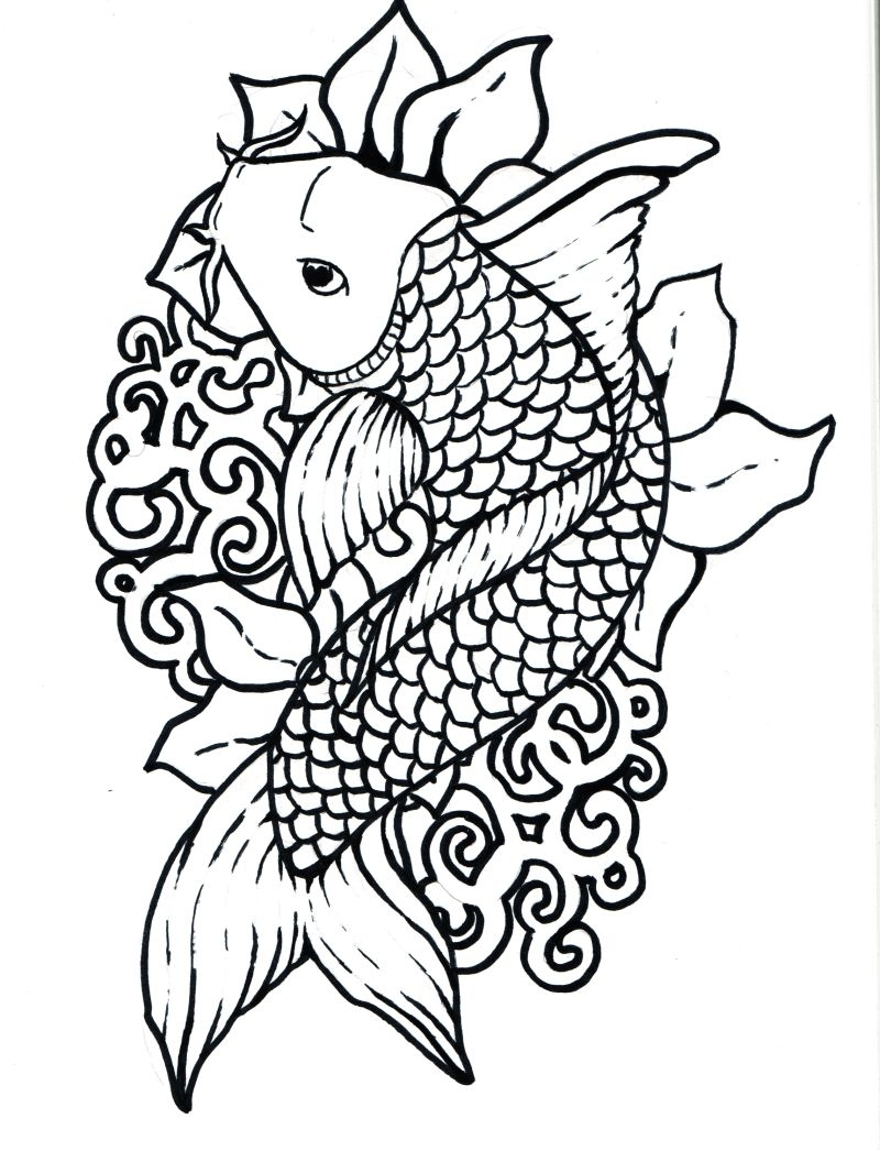 800x1046 Adult Coloring Pages Abstract Coy Fish Printable