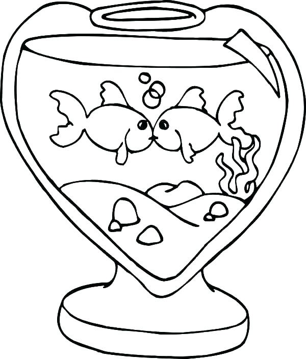 Fish Bowl Coloring Page