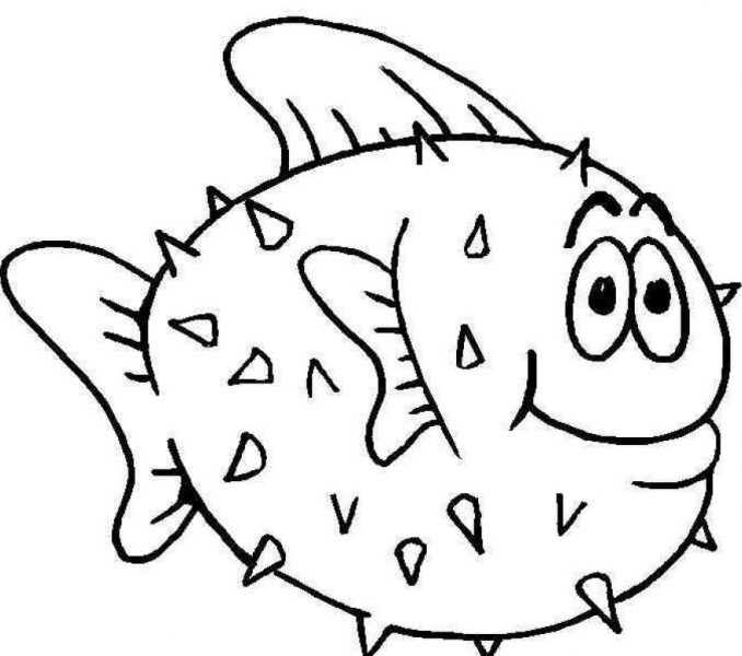 678x600 Fish Coloring Pages For Kids Fish Coloring Pages Puffer Fish