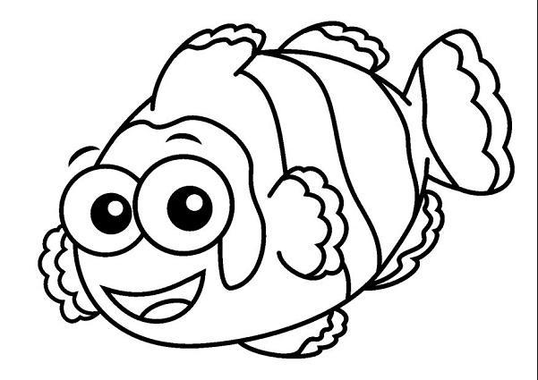 601x425 Cartoon Clown Fish Coloring Book