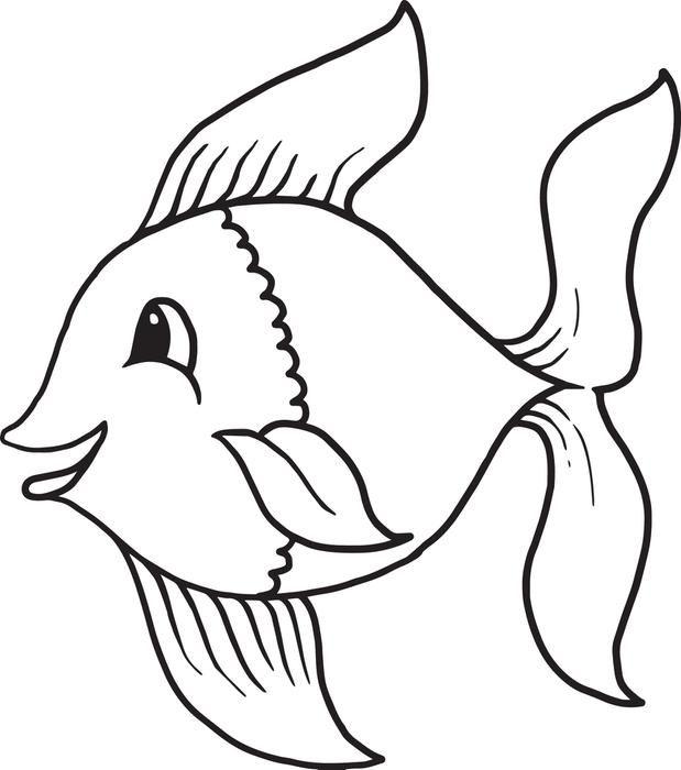 619x700 Cartoon Fish Coloring Page