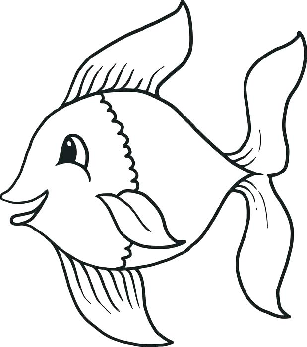619x700 Fish Outline Coloring Pages Clip Art Library Free Clipart Fish