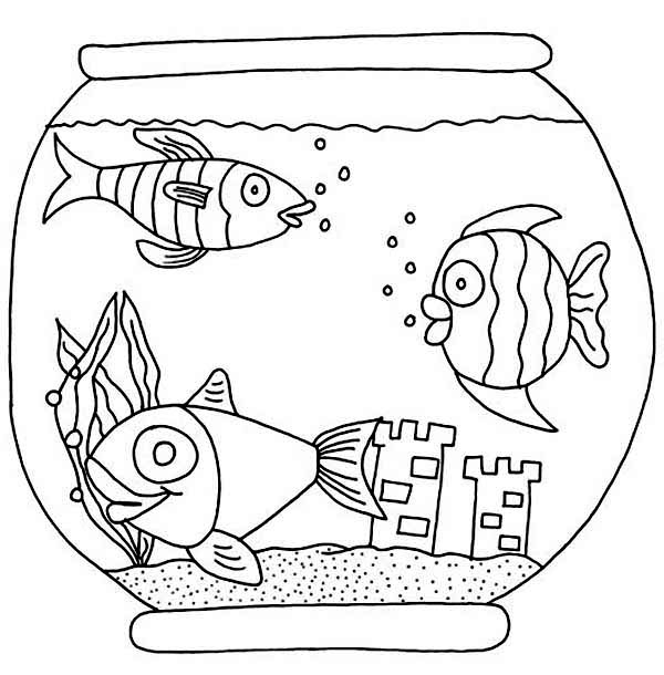 600x610 Three Fish With Castle In Fish Bowl Coloring Page