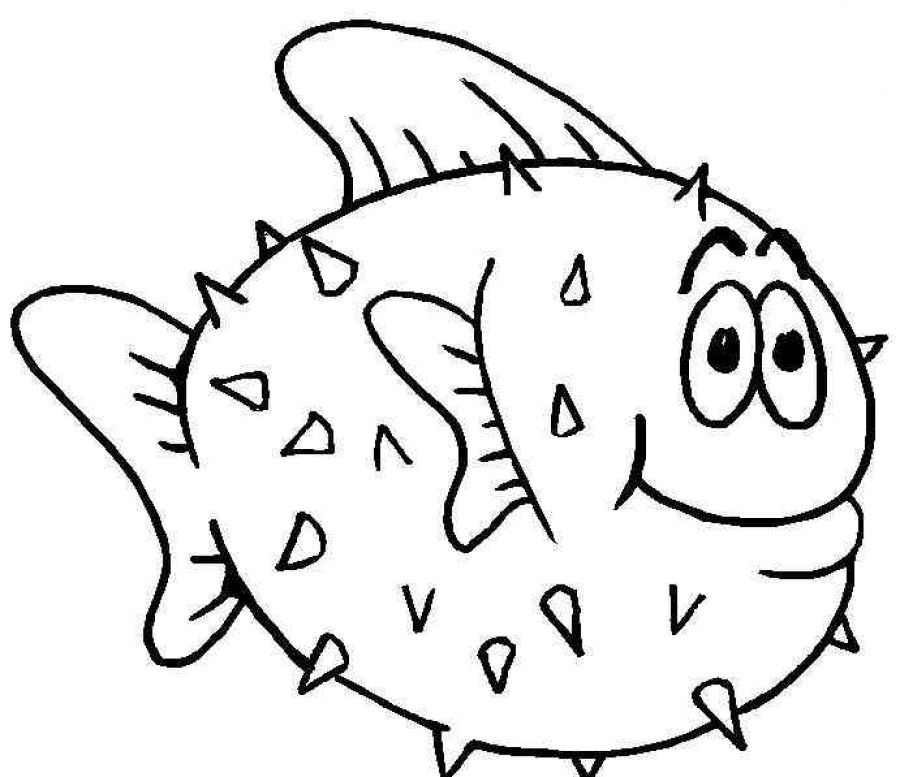 900x777 Fish Coloring Pages For Kids Fish Coloring Pages Puffer Fish