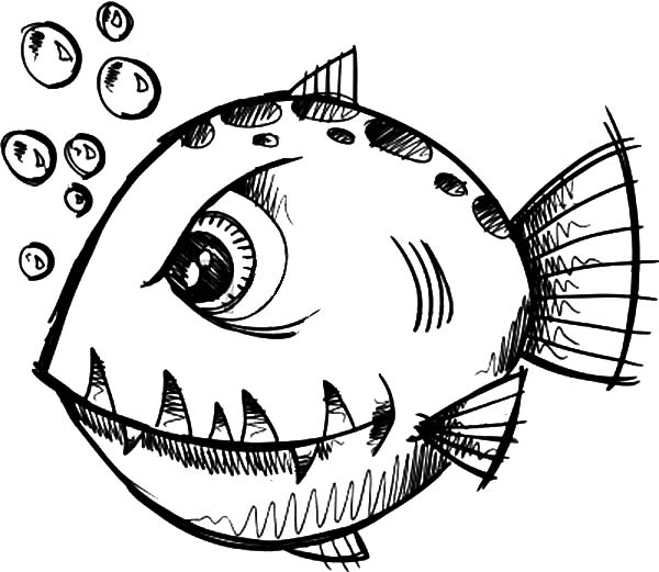 600x521 Monster Fish Coloring Pages Color Luna