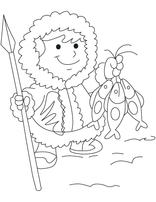 612x792 Eskimo Coloring Page Coloring Page An With Fish Coloring Page Boy