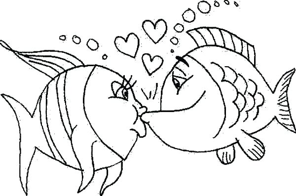 600x397 Fish Coloring Pages Romance Kissing Fish Coloring Pages Fish