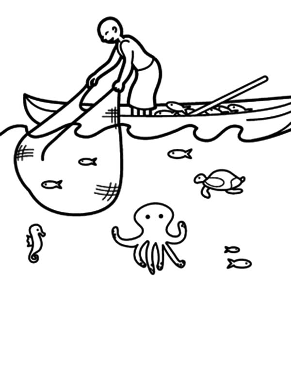 600x776 Fishing Boat, Fishing Boat Catching Fish With Net Coloring Pages
