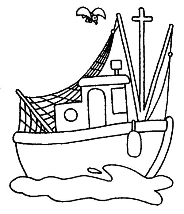 600x697 Fishing Boat, Traditional Fishing Boat Coloring Pages For Use
