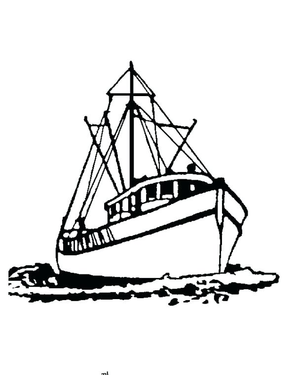 600x761 Fishing Boat Coloring Pages Boat Coloring Page Big Sail Boat