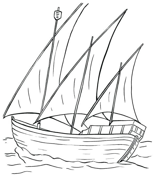 600x734 Fishing Boat Coloring Pages Sailing Boat Sail The Sea Coloring