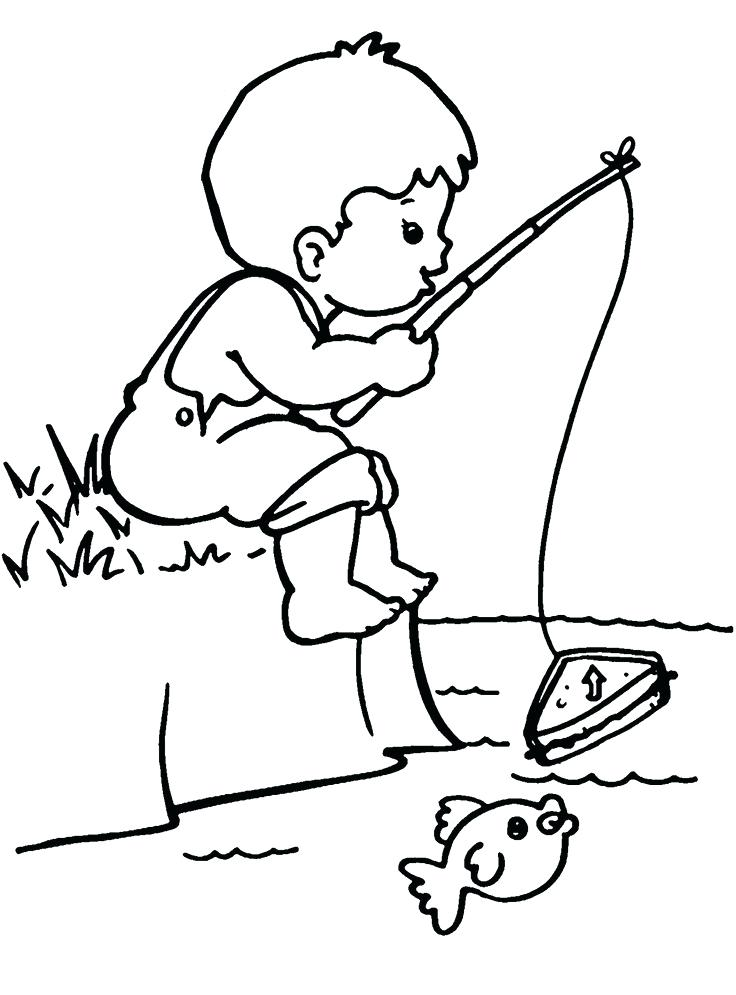 736x995 Fishing Pole Coloring Page
