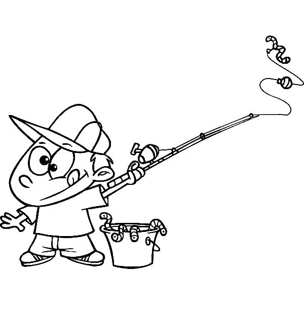 600x612 Coloring Fishing Pole Coloring Page Boy With A Bucket Of Worms