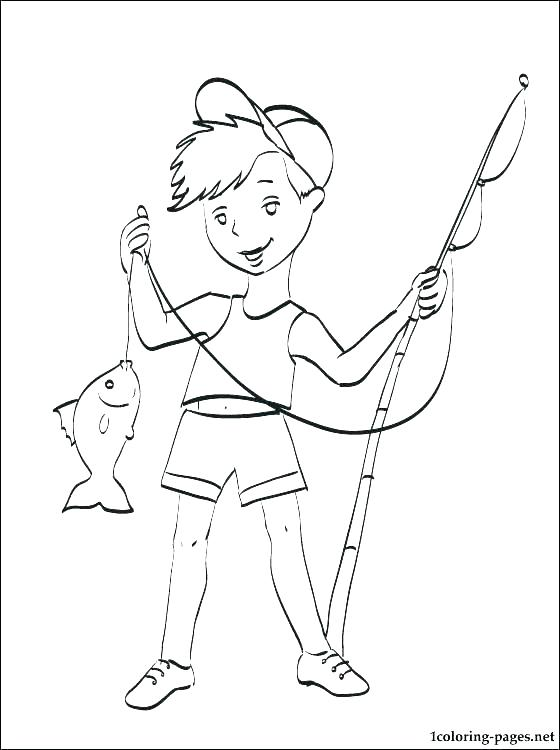 560x750 Fishing Coloring Pages