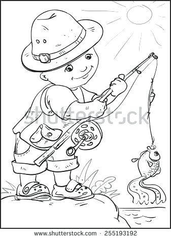 337x470 Fishing Pole Coloring Page Fishing Rod Coloring Pages Fishing