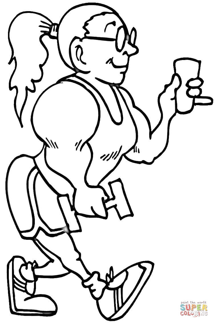 750x1130 Big Muscles Lady Coloring Page Free Printable Coloring Pages