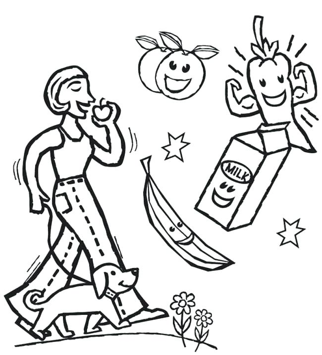 650x716 Fitness Coloring Pages Download Food Physical Sheets Coloring