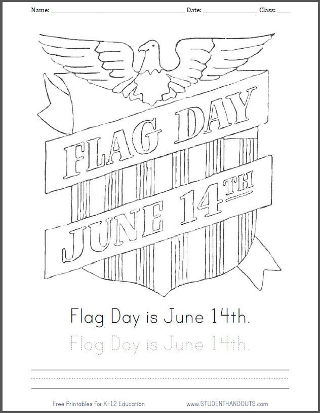 632x814 Flag Day Is June Coloring Page With Handwriting Practice
