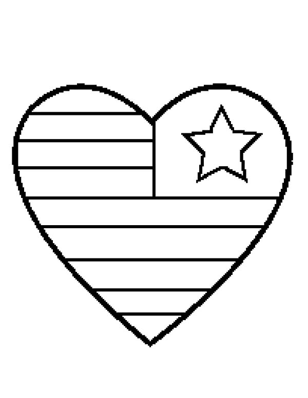 600x776 Heart Flag Day Coloring Pages