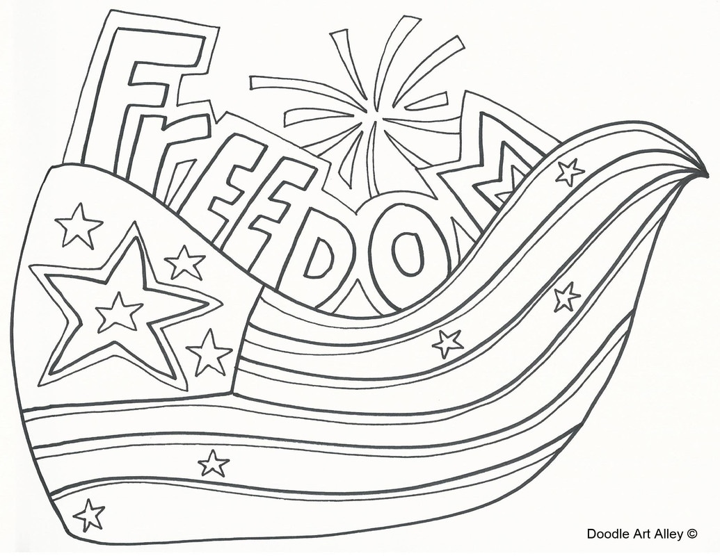 1035x800 Independence Day Coloring Pages