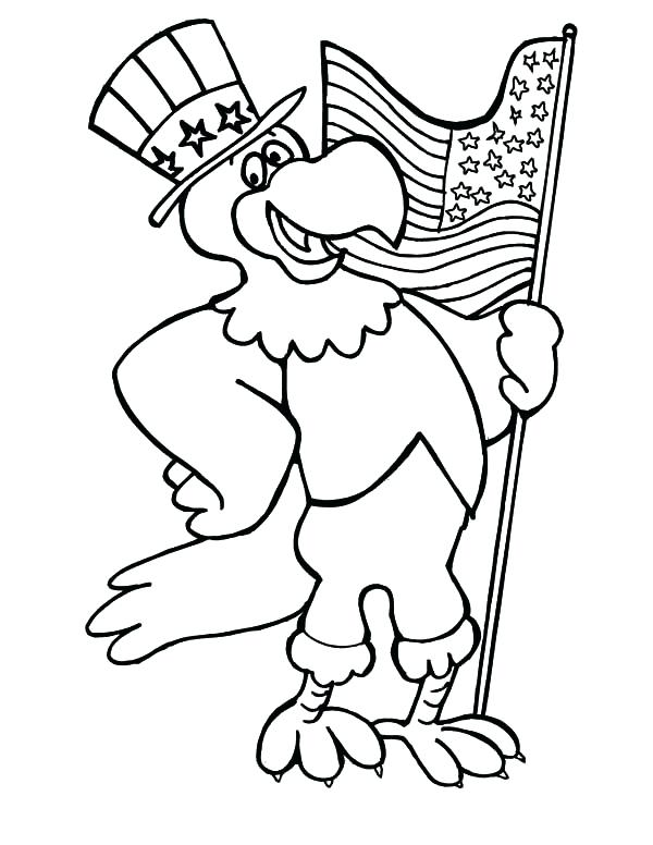 600x776 Memorial Day Coloring Pages Eagle Hold On Flag On Flag Day