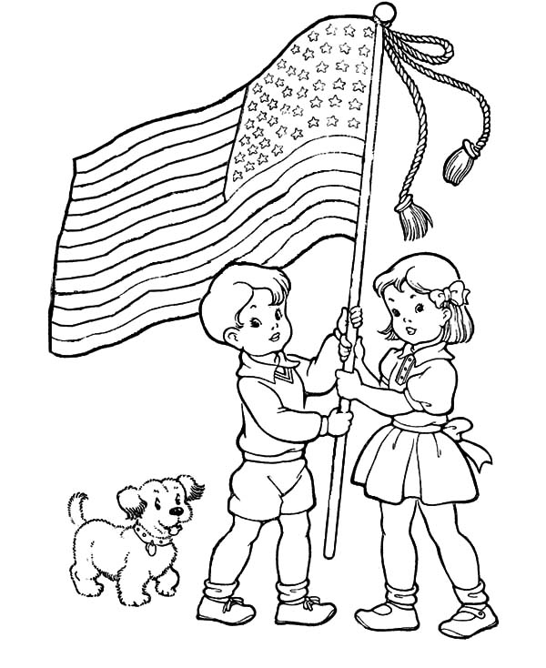 600x734 Two Excited Kids And Dog On Flag Day Coloring Pages