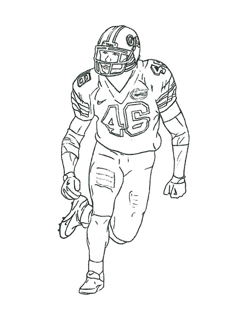 750x1000 Football Player Coloring Page