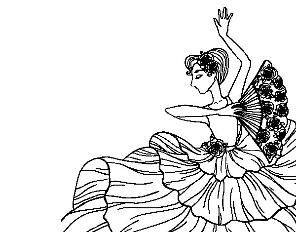 600x470 Flamenco Woman Coloring Page