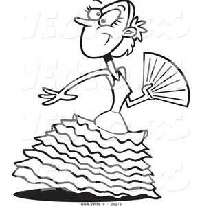 294x300 Vector Of A Beautiful Cartoon Flamenco Dancer Coloring Page