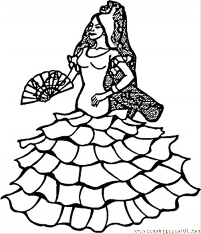 650x758 Spanish Dancer Coloring Page