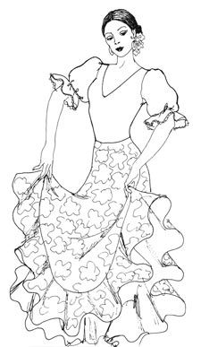 225x387 Fashion Coloring Pages Pages Flamenco Girl