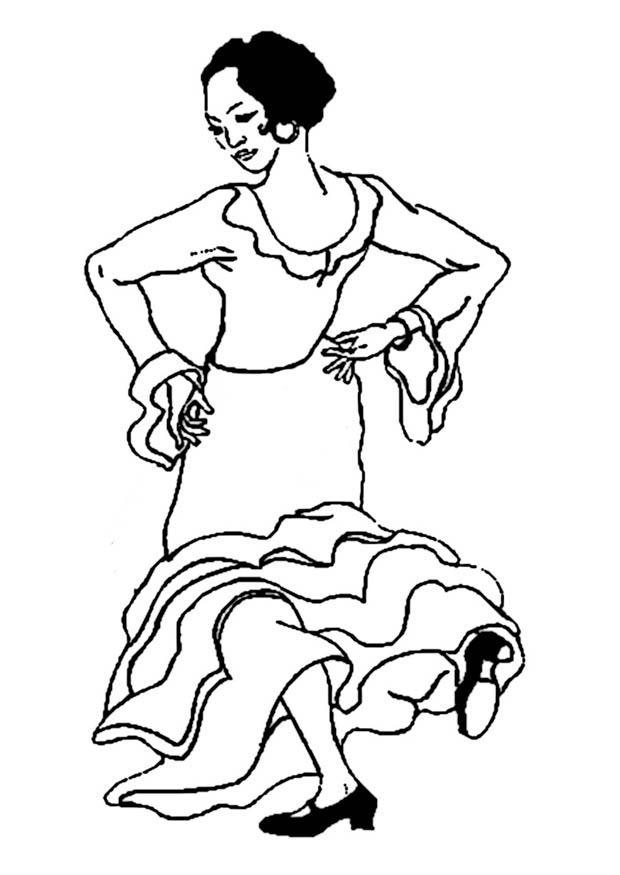 620x875 Coloring Page Flamenco Dancer
