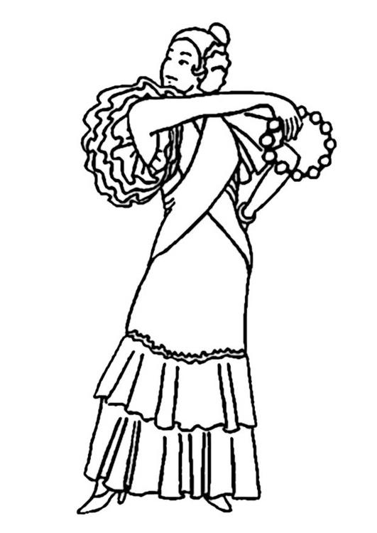 531x750 Coloring Page Flamenco Dancer