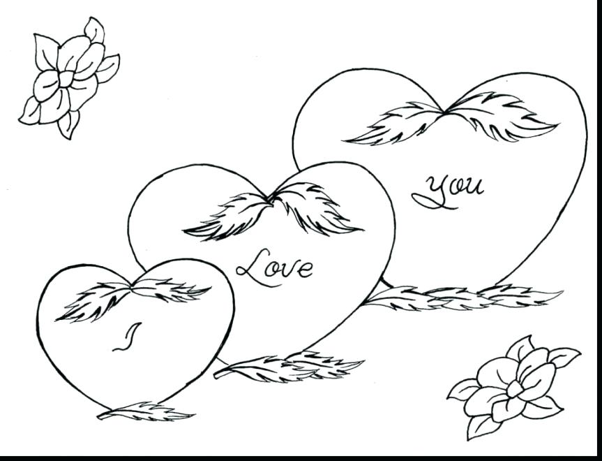 863x660 Heart Coloring Pages With Wings