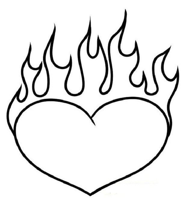 618x687 Best Flames Heart Coloring Pages Free Printable