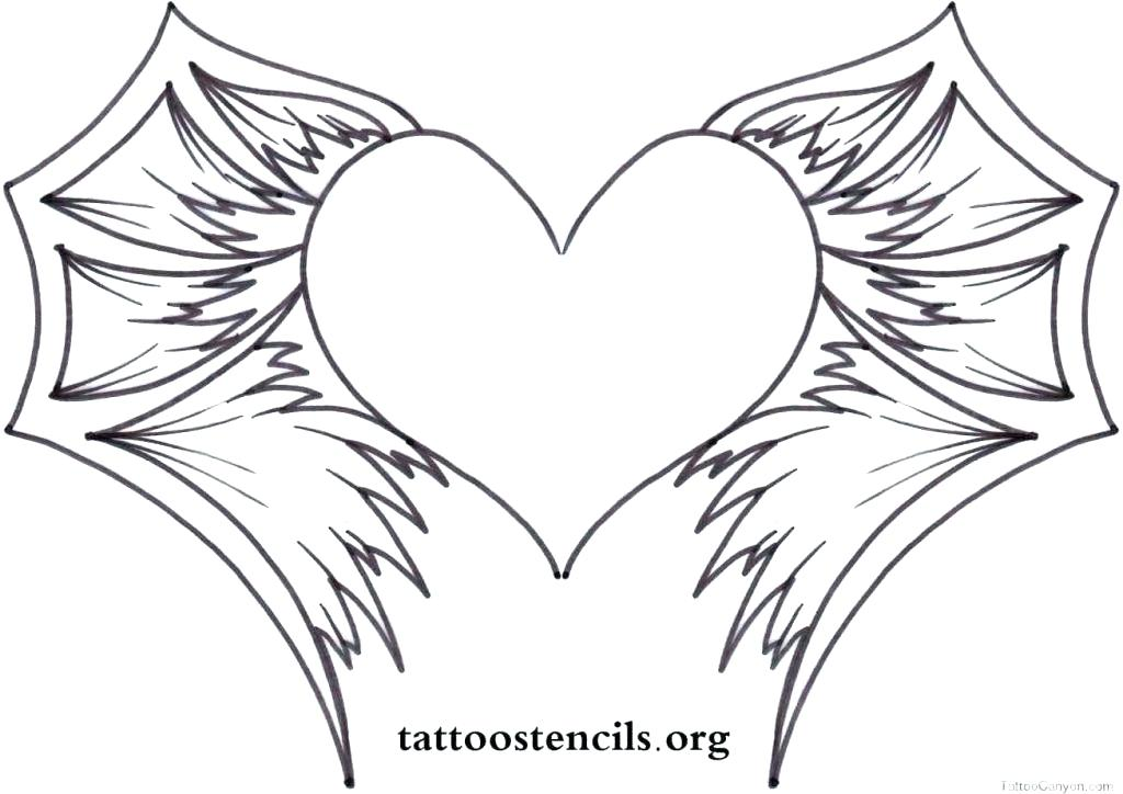 1024x724 Coloring Pages Flames Heart With Wings Stock