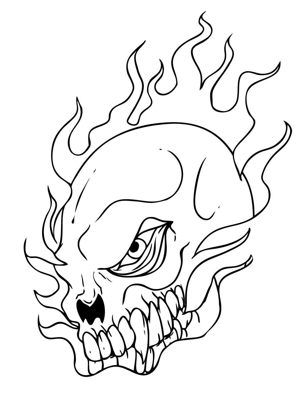 Flaming Skull Coloring Pages