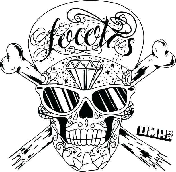 618x604 Flaming Skull Coloring Pages