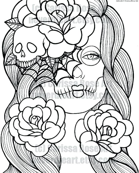 570x713 Coloring Pages Of Skulls Flaming Skull Coloring Pages Free