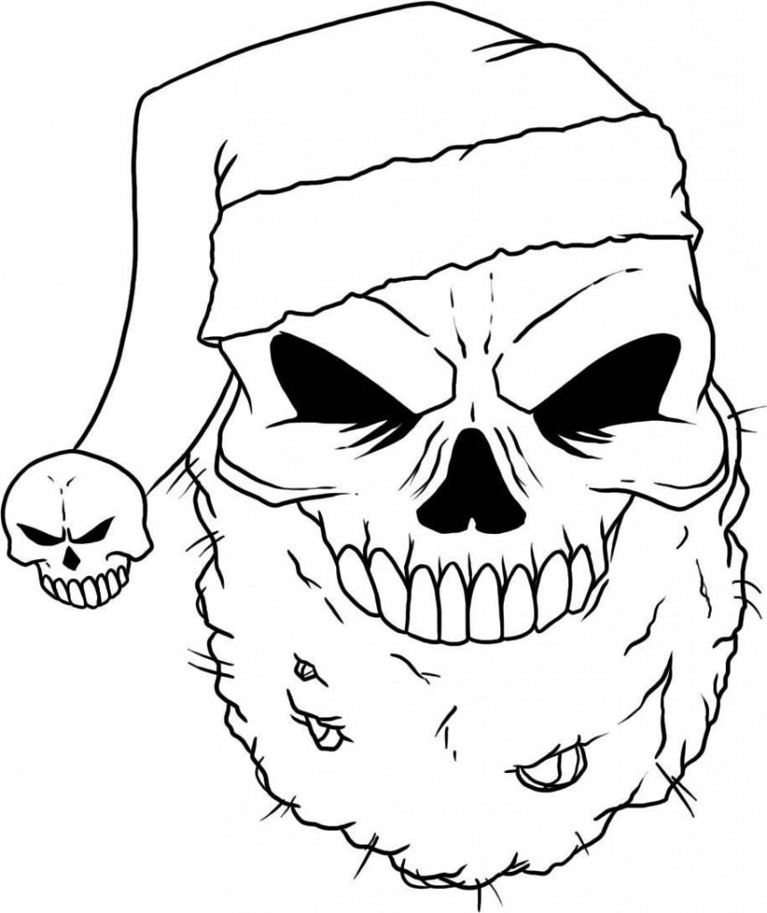 860x1024 Cool Flaming Skull Coloring Pages