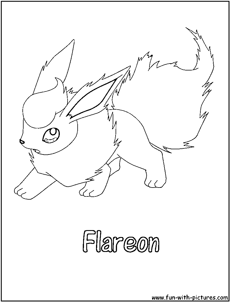 800x1050 Flareon Coloring Page