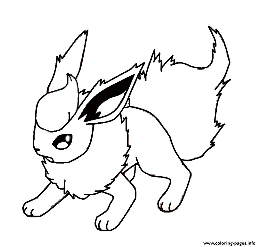 900x852 Flareon Eevee Pokemon Coloring Pages Printable