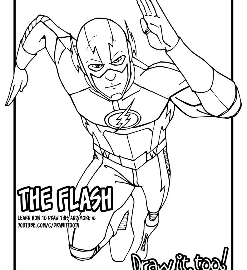 791x864 Flash Coloring Page With Pages The Superhero General Printable