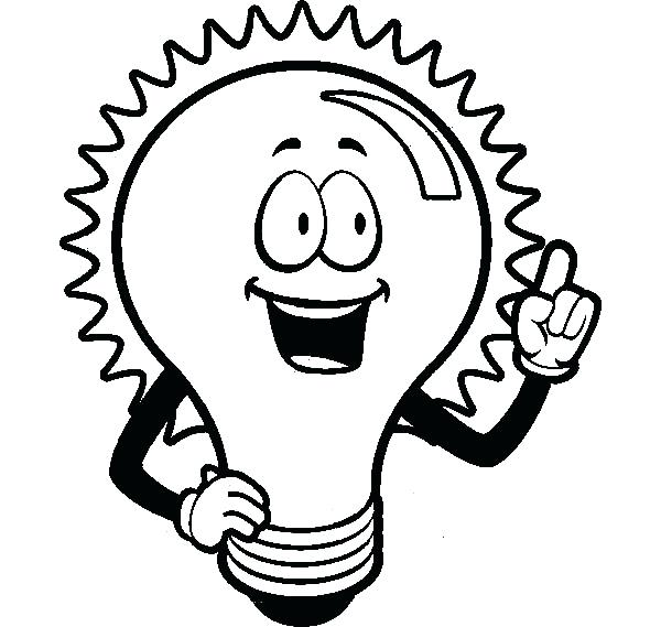 600x569 Light Coloring Page Light Bulb Outline Coloring Pages Flashlight