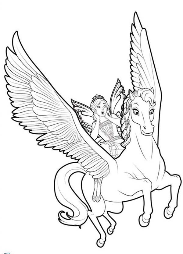 600x834 Unicorn Coloring Pages Flying With Fairy Unicorn